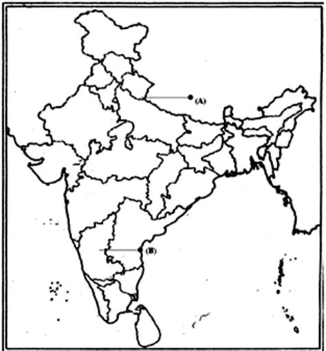India Physical Map Outline In A4 Size by India Political Map Outline