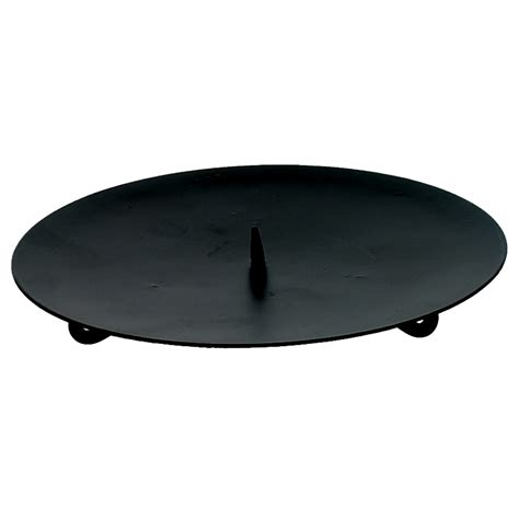 Large Candle Plate Large Black Metal Candle Plate