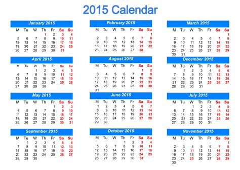 2015 calendar template with holidays printable 2015 calendar