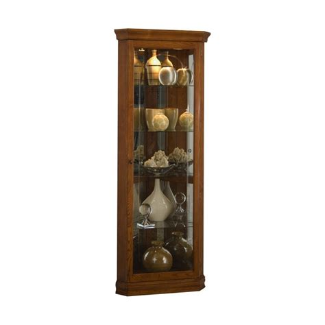 Pulaski Golden Oak Mirrored Corner Curio in Brown   20206