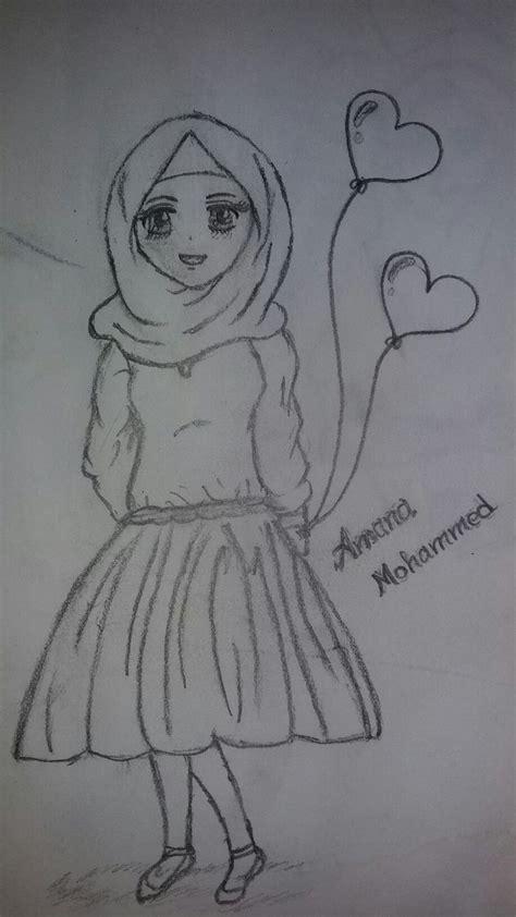 cute hijab girl pencil drawing sketches pencil drawings