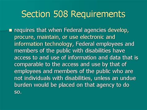 Section 508 Requirements by Slides And Notes For Podcasts Vodcasts And Accessibility