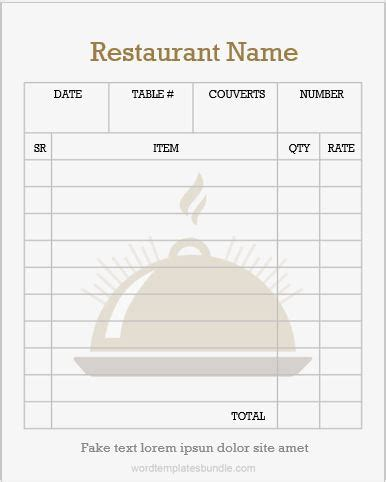 Restaurant Order Pad Templates For Ms Word Formal Word Templates Server Order Pad Template