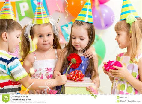 gift children children with gifts on birthday stock photography