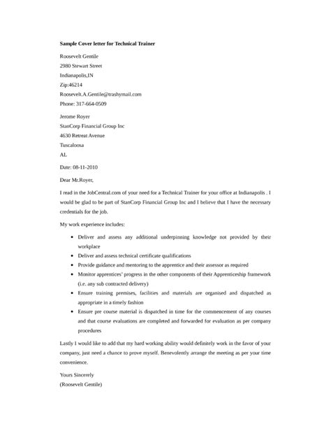 Technical Trainer Cover Letter by Basic Technical Trainer Cover Letter Sles And Templates