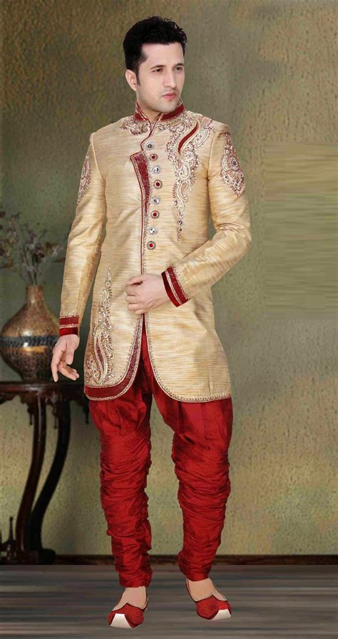 white indowestern jacquard shervani for wedding wear