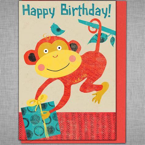 Monkey Birthday Cards Free Retro Monkey Birthday Card By Rocket 68