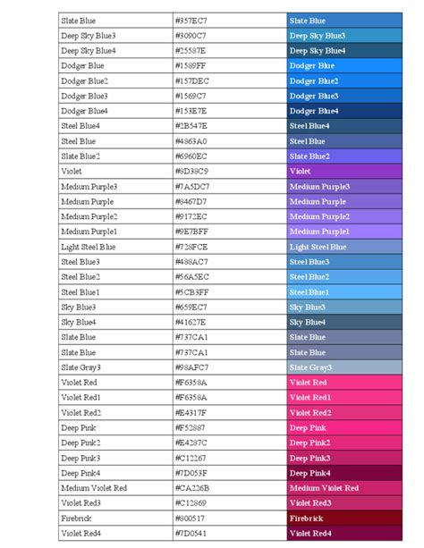 color in html standard html color code chart free