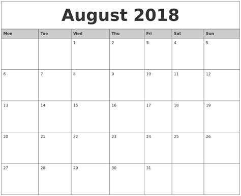 printable monthly calendar for 2018 august 2018 monthly calendar printable