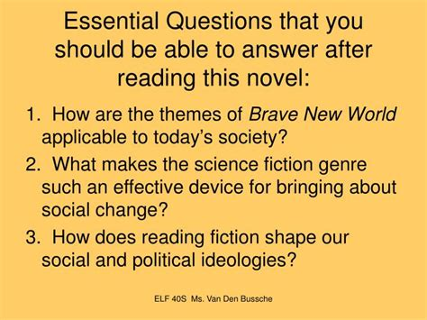 theme questions brave new world ppt brave new world by aldous huxley powerpoint