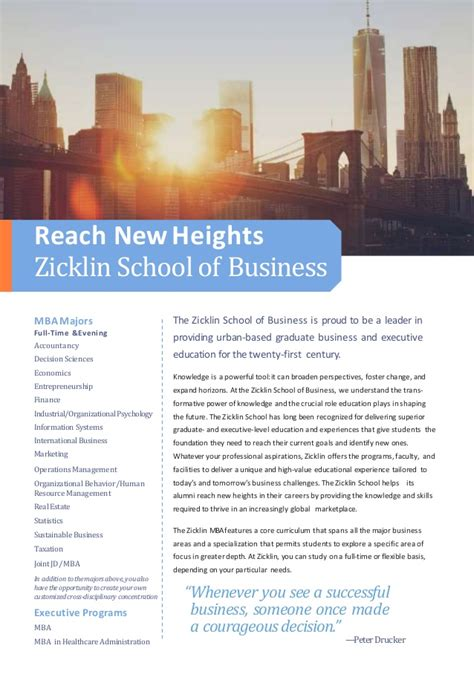 Zicklin School Of Business Tuition Mba by Baruch College Mba Brochure