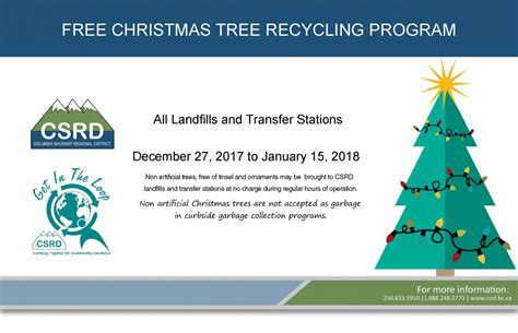 free christmas tree recycling program columbia shuswap