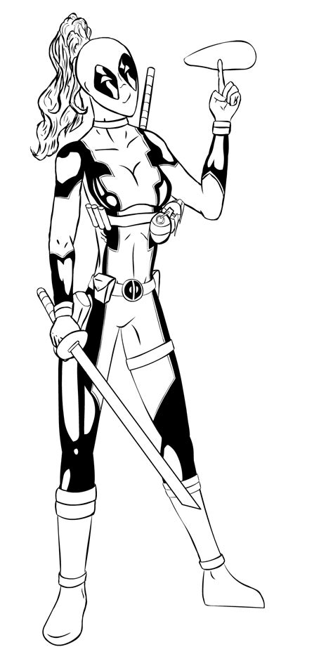 lady deadpool coloring pages lady deadpool lineart by zethkeeper on deviantart