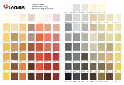 australian colors colour chart
