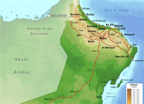 physical map of oman oman physical map mappery