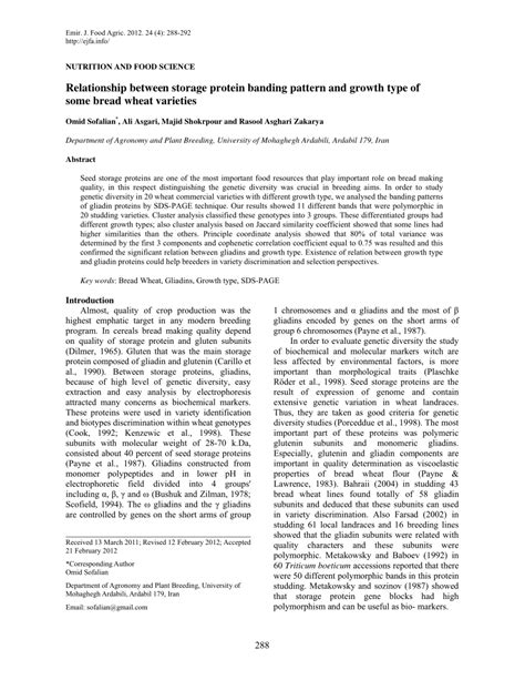 emirates journal of food and agriculture relationship between storage protein pdf download