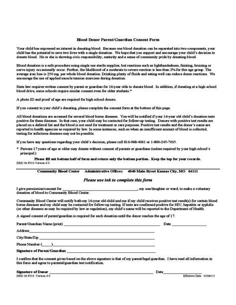 Parents Consent Letter For Blood Donation Blood Donor Parent Guardian Consent Form Kansas Free