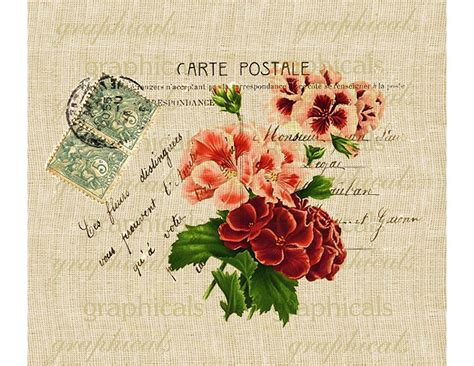 Decoupage Words - decor geraniums instant clip carte postale digital