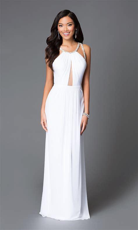 Longdress White white high neck sheer keyhole dress promgirl