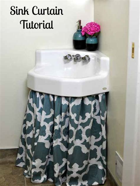 how to make a bathroom sink skirt how to make a sink curtain skirt easy diy tutorial