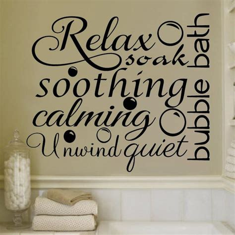 bathroom vinyl wall art relax soothing words collage for the bathroom decor vinyl