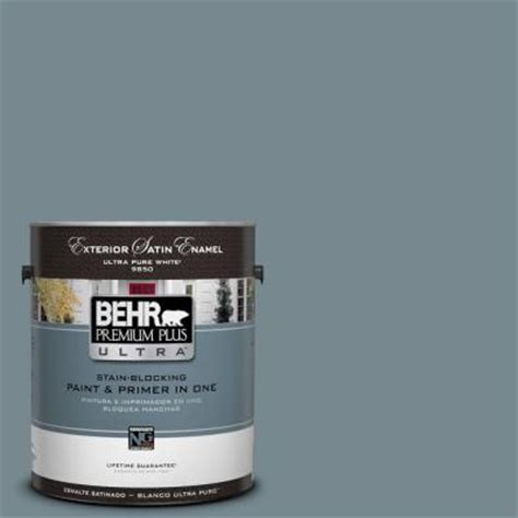 behr premium plus ultra 1 gal n470 5 blue satin enamel exterior paint 985401 the