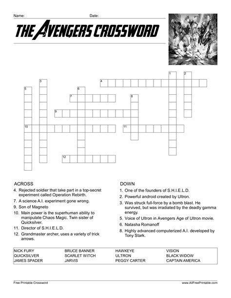 crossword template for google docs free the avengers crossword templates at