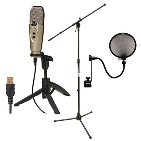 cad audio u37 usb studio recording microphone with cad audio microphone pop filter and on stage