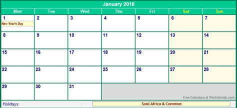 printable calendar 2018 south africa january 2018 south africa calendar with holidays for
