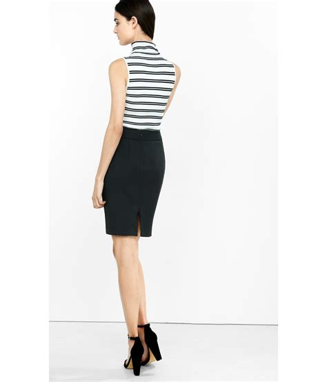 express black high waisted pencil skirt in black lyst