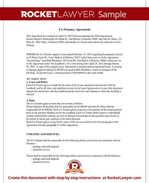 Sle Letter Of Agreement Between Landlord And Tenant Co Tenancy Agreement Form Co Tenant Contract Sle