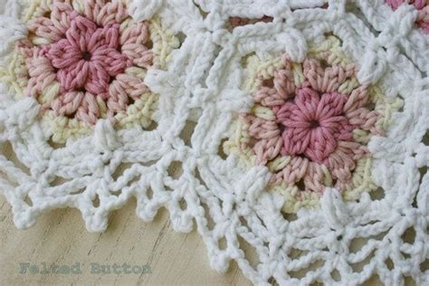 crochet pattern baby blanket vintage fleur shabby chic