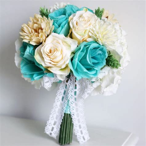 Discount Bridal Bouquets by Vintage Silk Flowers Mint Green Artificial Wedding