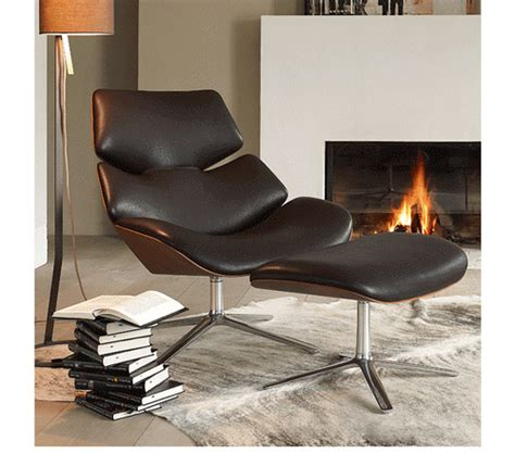 scandinavian design laminated plywood shell leisure style recliner leather shrimp lounge chair