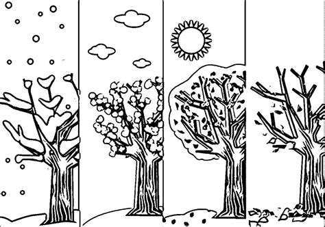four seasons free colouring pages