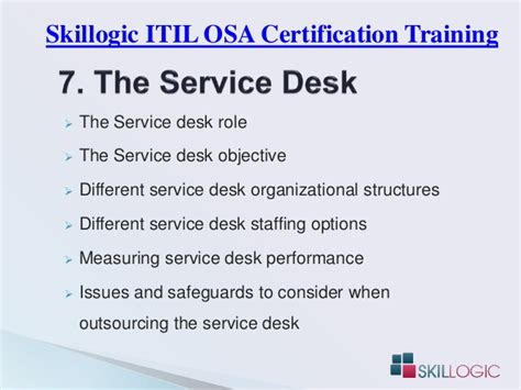 service desk key performance indicators itil osa certification training syllabus