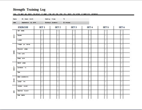 starting strength template daily strength log template document templates