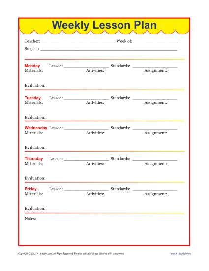 lesson plan template elementary weekly lesson plan template new calendar