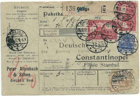 deutsche bank ohligs philaseiten de 66 69 deutsches reich paketkarten