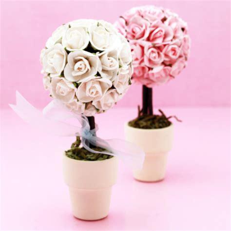Rose Themed Wedding Favors   mini rose topiary favor garden theme wedding favors