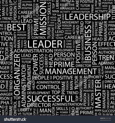 leader pattern leader seamless vector pattern with word cloud