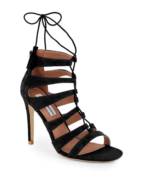 steve madden strappy sandals lyst steve madden faraah suede strappy open toe sandals