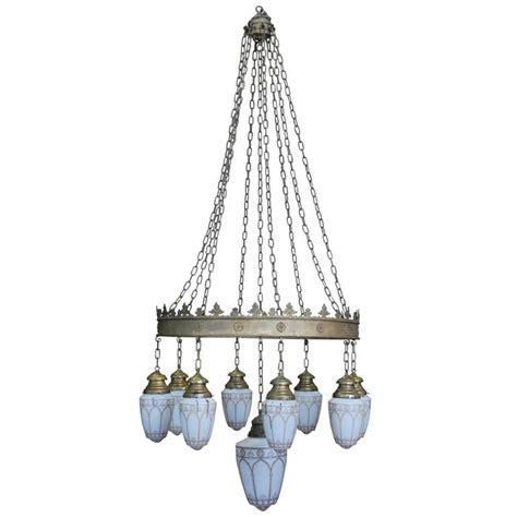 1910 Large Brass Hotel Lobby Nine Pendant Chandelier For Hotel Chandeliers For Sale