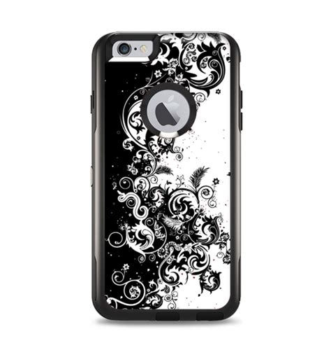 Sh118 Iphone 6plus Swirl the abstract black white swirls apple iphone 6 plus otterbox commute designskinz