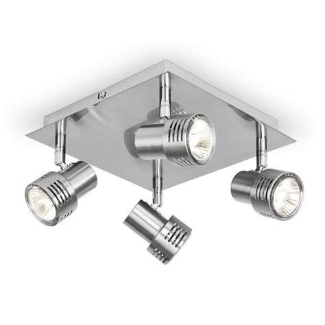 modern silver chrome square halogen kitchen ceiling light