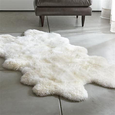 sheepskin ivory throw rugs crate and barrel