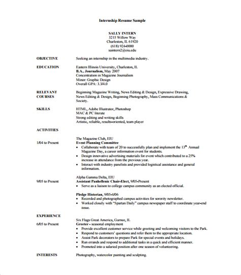resume templates for internships internship resume template 7 free documents in