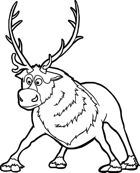frozen reindeer coloring pages sven coloring page wecoloringpage