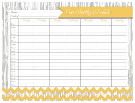 free daily weekly schedule printables for the whole