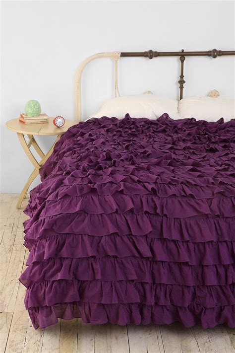 purple ruffle bedding waterfall ruffle duvet cover urban outfitters